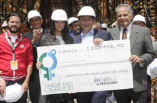 Assegno donazione  Amiche per l'Abruzzo