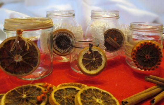 Candele natalizie con arance secche fai da te