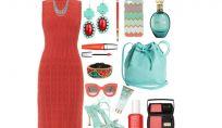 Outfit corallo e acquamarina