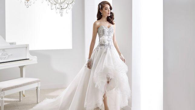 Nuove forme e geometrie grazie agli abiti da sposa asimmetrici 2016