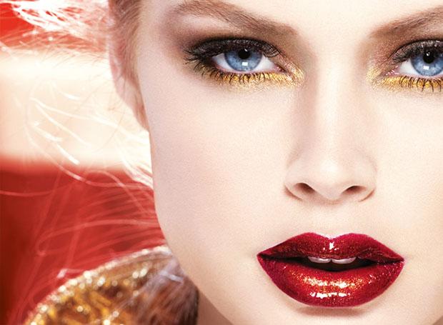 Make up rosso e oro
