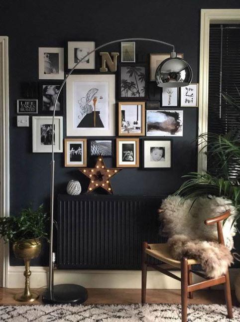 Casa con parete nera