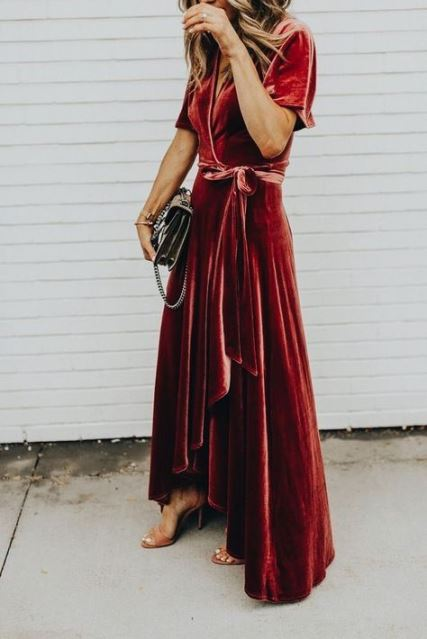 Long dress in velluto rosso
