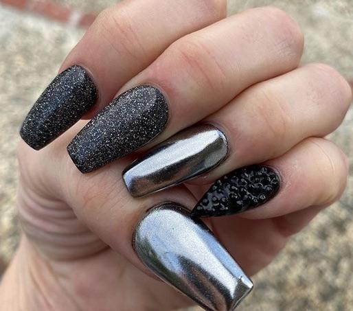 Ballerine, silver & black