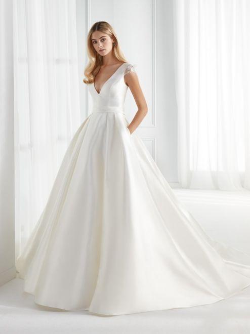 Aurora, abito da sposa in mikado