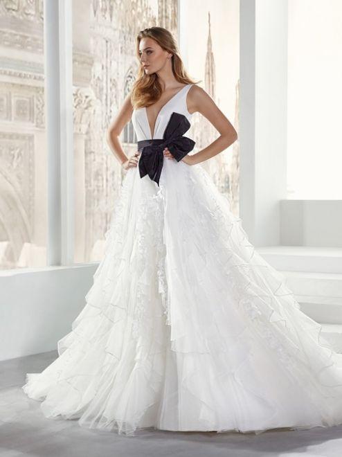 Jolies, abito da sposa con fiocco nero