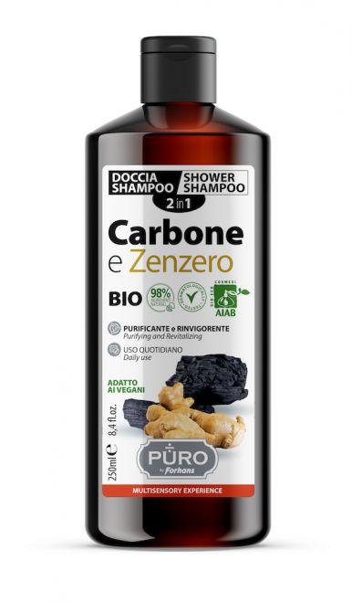 Forhans - Doccia Shampoo 2in1 BIO Carbone e Zenzero Purificante di PURO