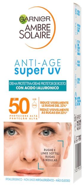 Garnier Ambre Solaire Super UV - Crema Viso Protettiva ad Azione Anti-Età SPF 50